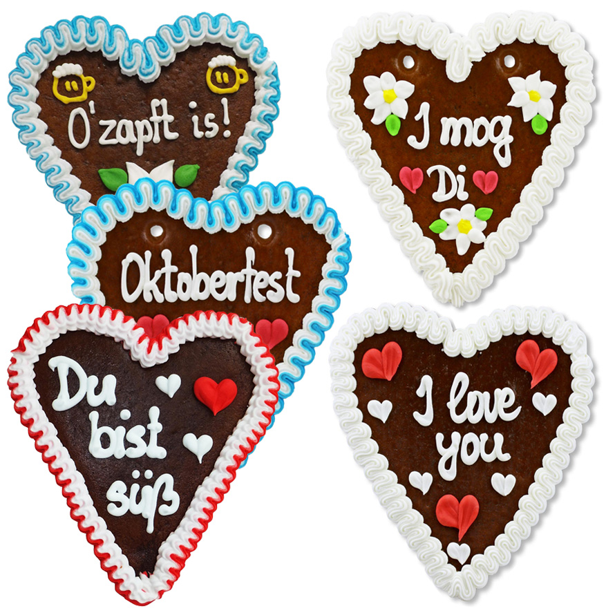 Mixed Box Of Gingerbread Hearts Various Phrases