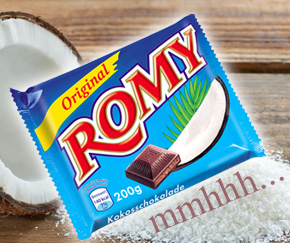 Mmhhh...delicious Romy coconut chocolate that no one can resist.