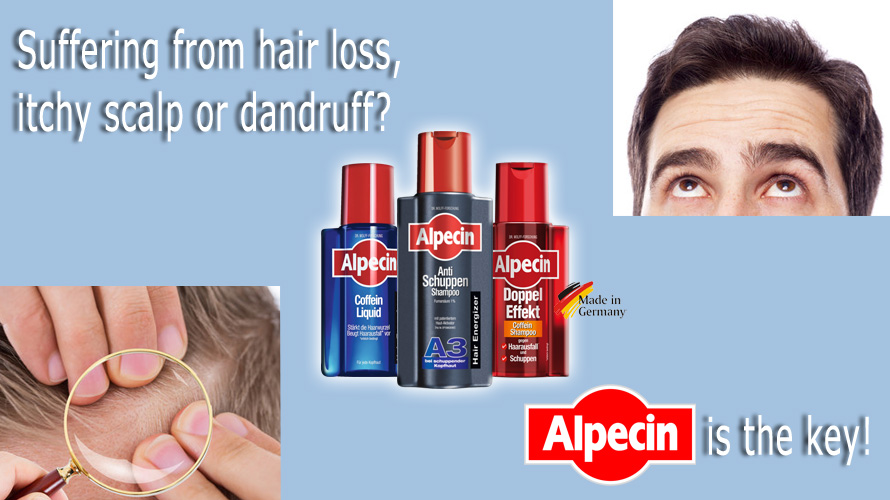 Suffering from hair loss, itchy scalp or dandruff? Alpecin is the key!