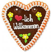"Gingerbread Heart Medium ""❤-lich Willkommen"""