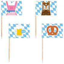 30 Picks Flags Bavaria Wood 6.5 cm / 2.6 inches