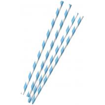 12 Blue-White Paper Straws Oktoberfest 19.7 cm / 7.7 inches