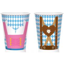 8 Paper Cups Oktoberfest Dirndl & Lederhosen 250 ml / 8.45 fl.oz