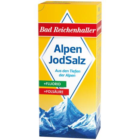 Bad Reichenhaller Iodized Alpine Salt + Fluoride + Folic Acid 17.6 oz Refill Package