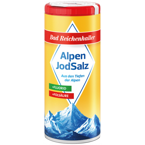 Bad Reichenhaller Iodized Alpine Salt + Fluoride + Folic Acid 4.41 oz Dispenser Canister