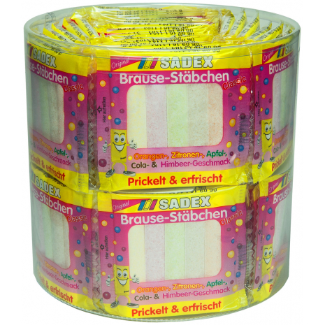 Sadex Fizzy Sherbet Sticks, 60 x 5-Packs, 2.78 lbs Tub
