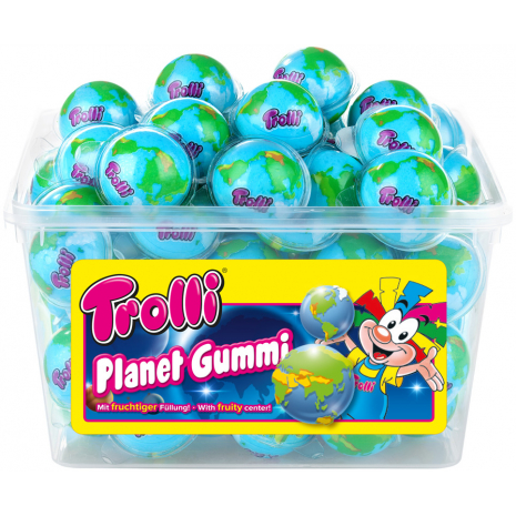 Trolli Planet Soft Fruit Gums, 60 Pcs, Tub
