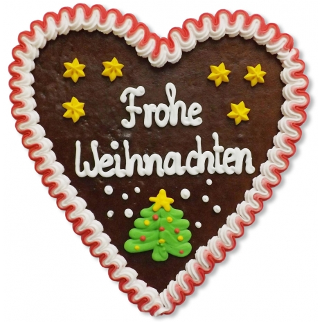 "Gingerbread Heart Large ""Frohe Weihnachten"""