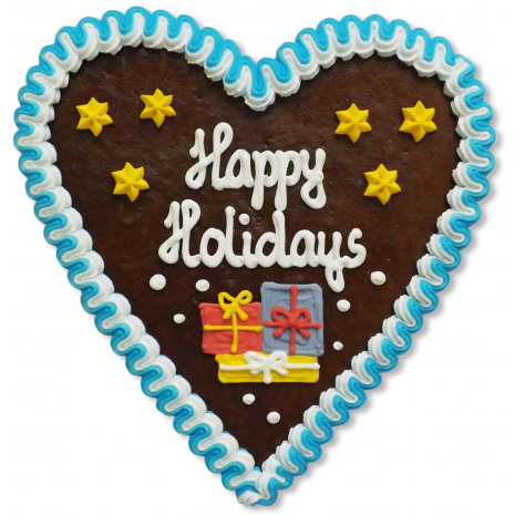 """Gingerbread Heart Large """"Happy Holidays"""""""