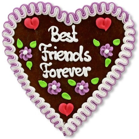 "Gingerbread Heart Large ""Best Friends Forever"""