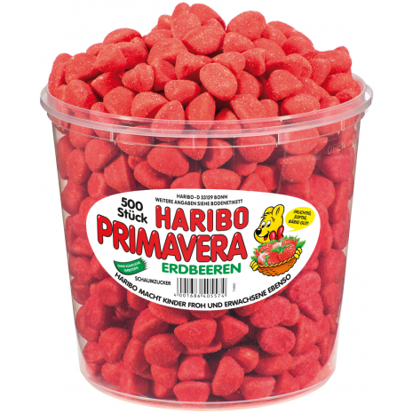 Haribo Primavera Strawberries, 500 Pcs, Tub