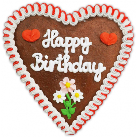 "Gingerbread Heart Large ""Happy Birthday"""
