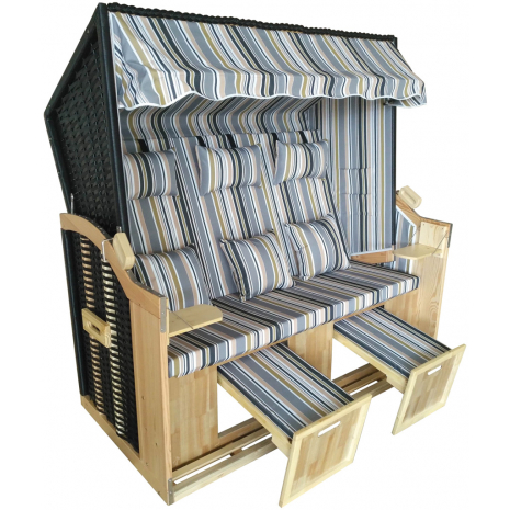 Wicker Beach Chair Baltic Sea Model, Gray Striped, 3-Seater