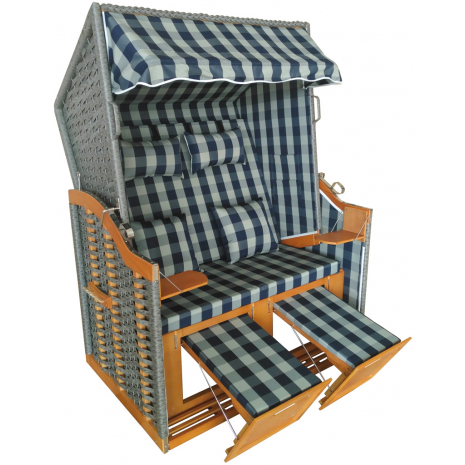 Wicker Beach Chair Baltic Sea Model, Blue-Green Checkered Pattern