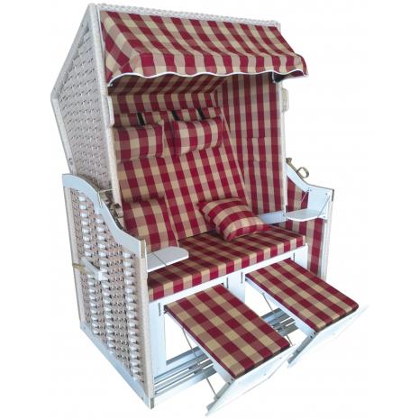 Wicker Beach Chair Baltic Sea Model, Red-Beige Checkered Pattern