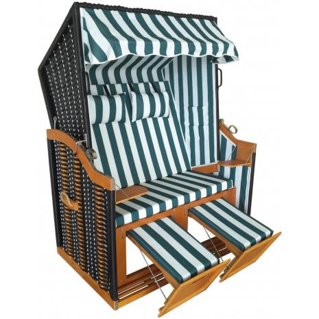 Wicker Beach Chair Baltic Sea Model, Green-White Striped