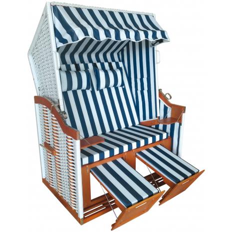 Wicker Beach Chair Baltic Sea Model, Blue-White Striped