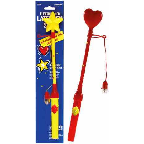 Riethmueller Electrical Lantern Stick With Flashing Heart / Star, Assorted, 34 cm / 13.4 inches
