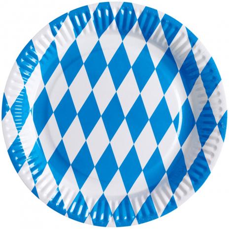 8 Paper Plates Oktoberfest Ø 23 cm / 9 inches