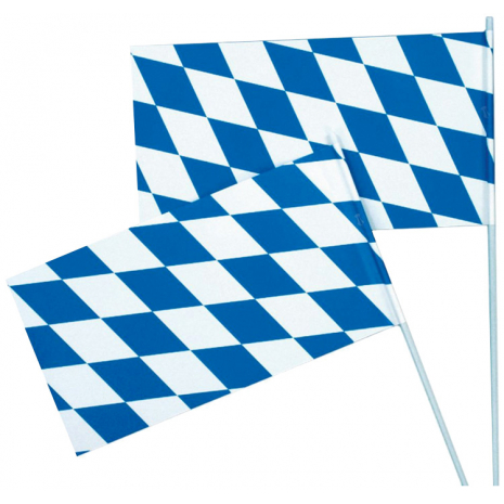 Bavarian Paper Flag Blue-White With Plastic Rod 12 x 23 cm / 4.7 x 9 inches