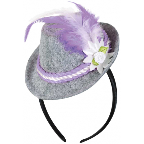 Headband with Bavarian Hat And Purple Feather