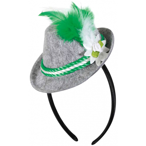 Headband with Bavarian Hat, Green-White Feather