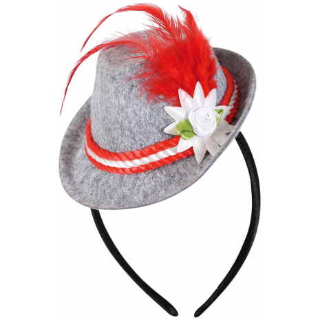 Headband with Bavarian Hat, Red Feather