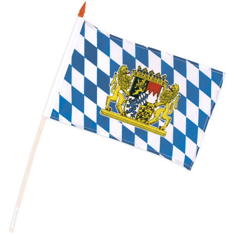 Bavaria Flag with National Coat of Arms 15 x 20 cm / 6 x 8 inches