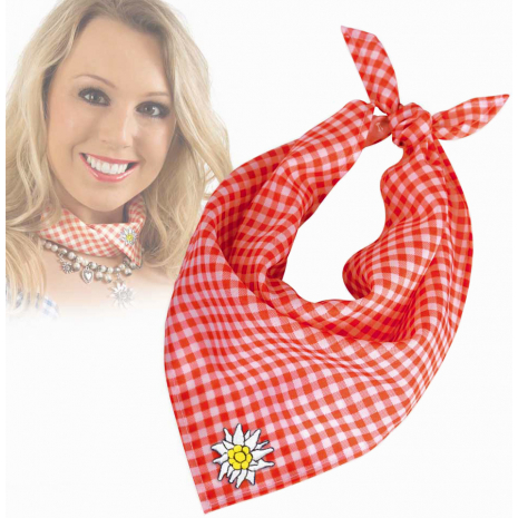 Red Checkered Triangle Neck Bandana with Edelweiss Embroidery