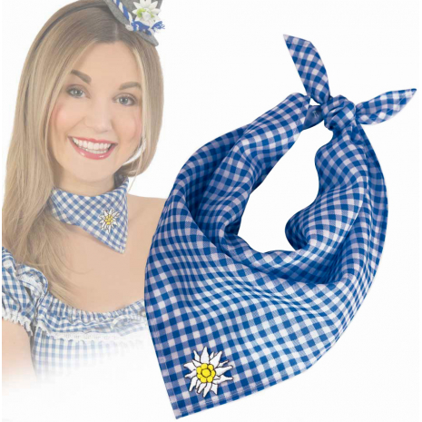 Blue Checkered Triangle Neck Bandana with Edelweiss Embroidery