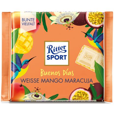 """Ritter Sport """"Buenos Dias"""" White Mango Passion Fruit 3.53 oz"""