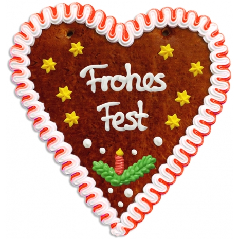 """Gingerbread Heart Large """"Frohes Fest"""""""