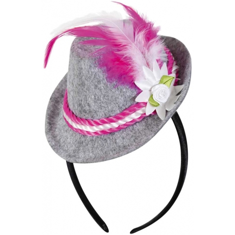 Headband with Bavarian Hat, Bright Pink Feather