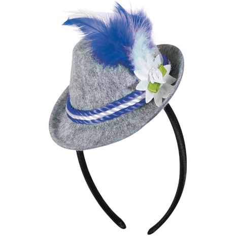 Headband with Bavarian Hat, Blue-White Feather