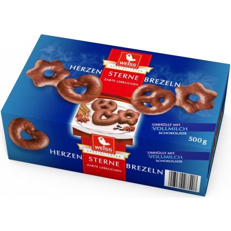 Weiss Hearts Stars Pretzels Milk Chocolate 17.6 oz